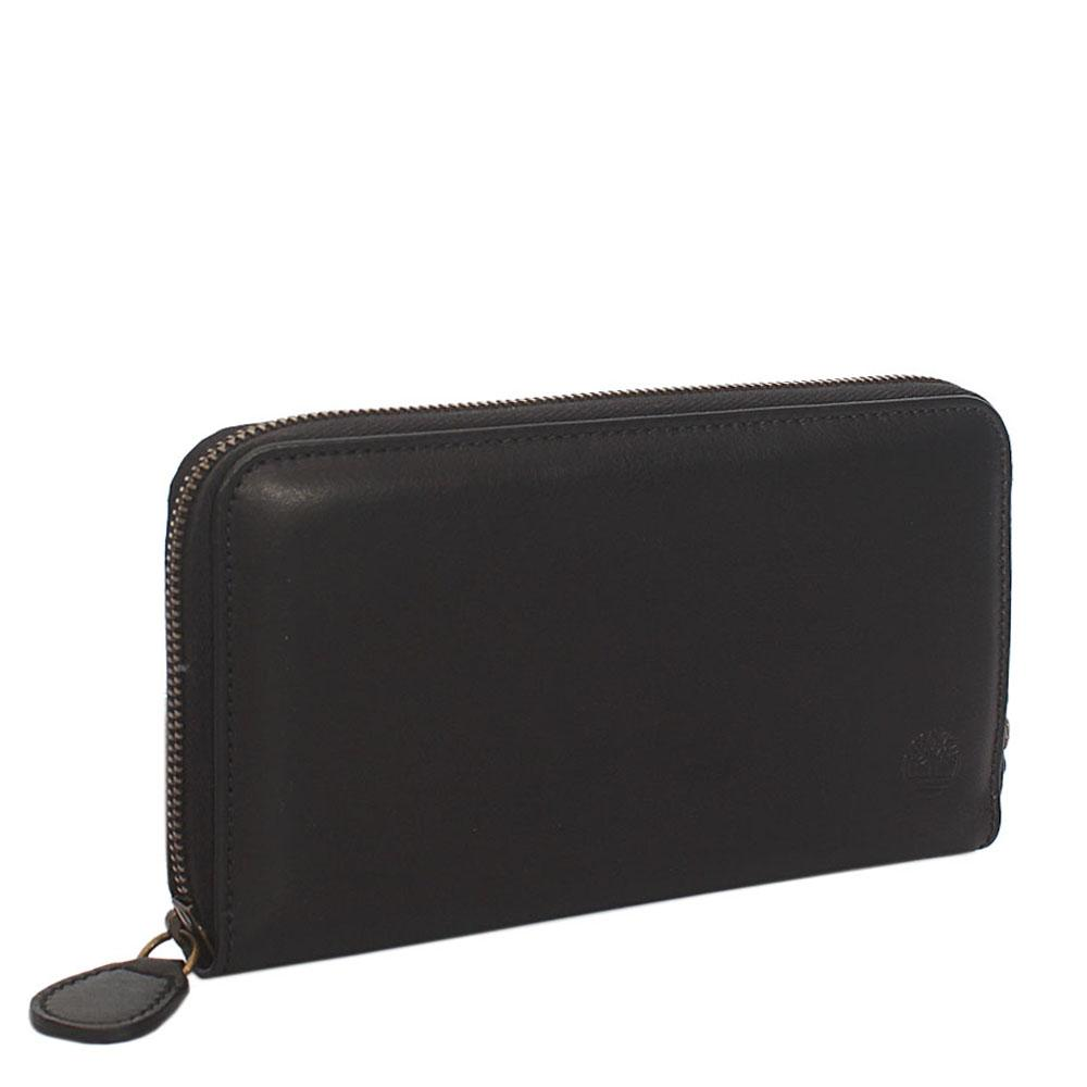 Timberland Black Leather Full Zip Around Ladies Wallet