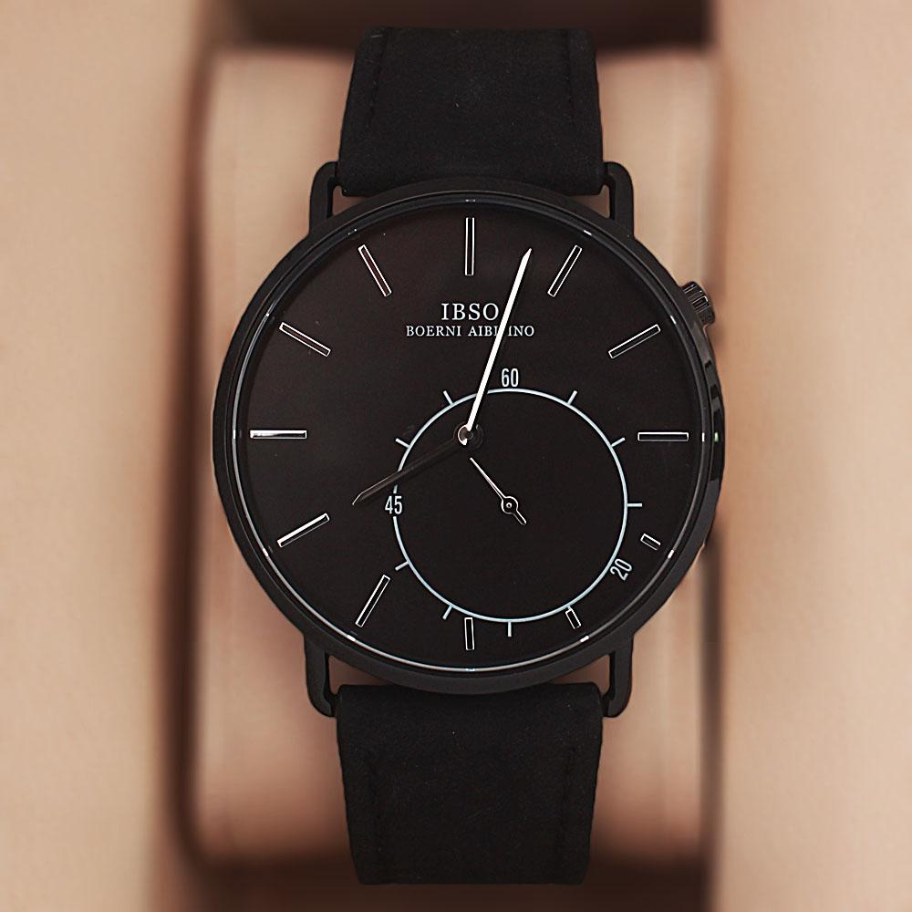 Miles Black Leather Flat Watch