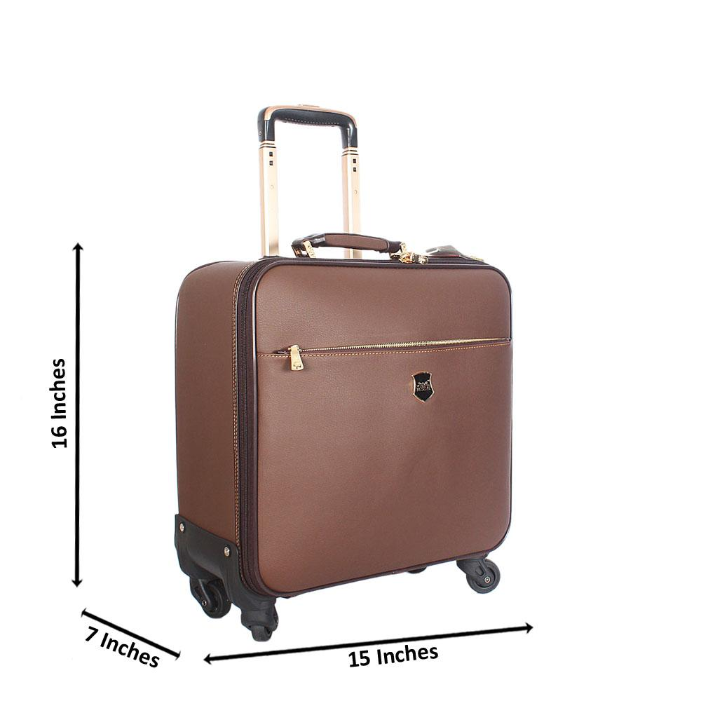 Brown Smooth 16 Inch Leather Pilot Suitcase Wt Lock