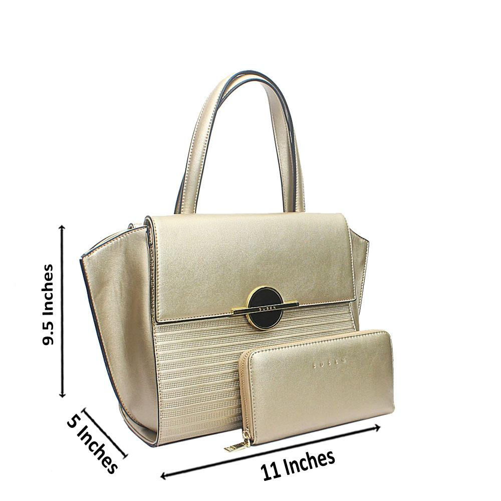 Susen Gold Ocular Etched Leather Handbag