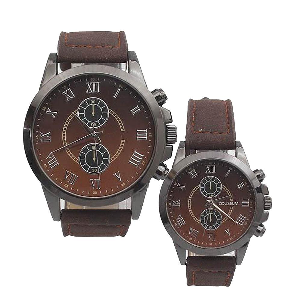 Coliseum Sweetheart Brown Leather Couples Watch-