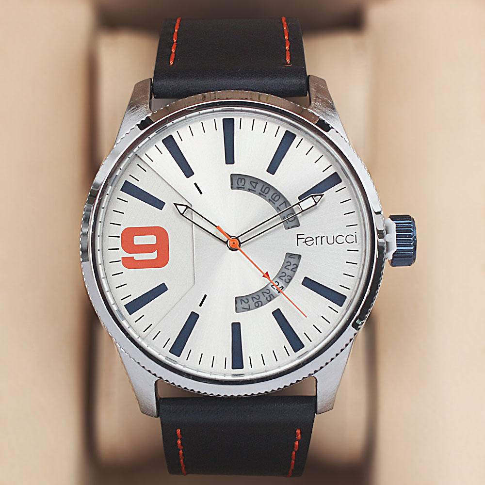 Ferrucci Etched Navy Leather Watch