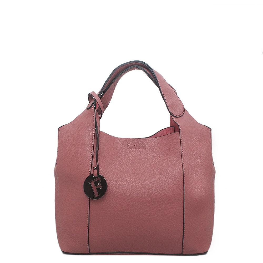 London Style Peach Leather Medium Tote Bag Wt Inner Purse