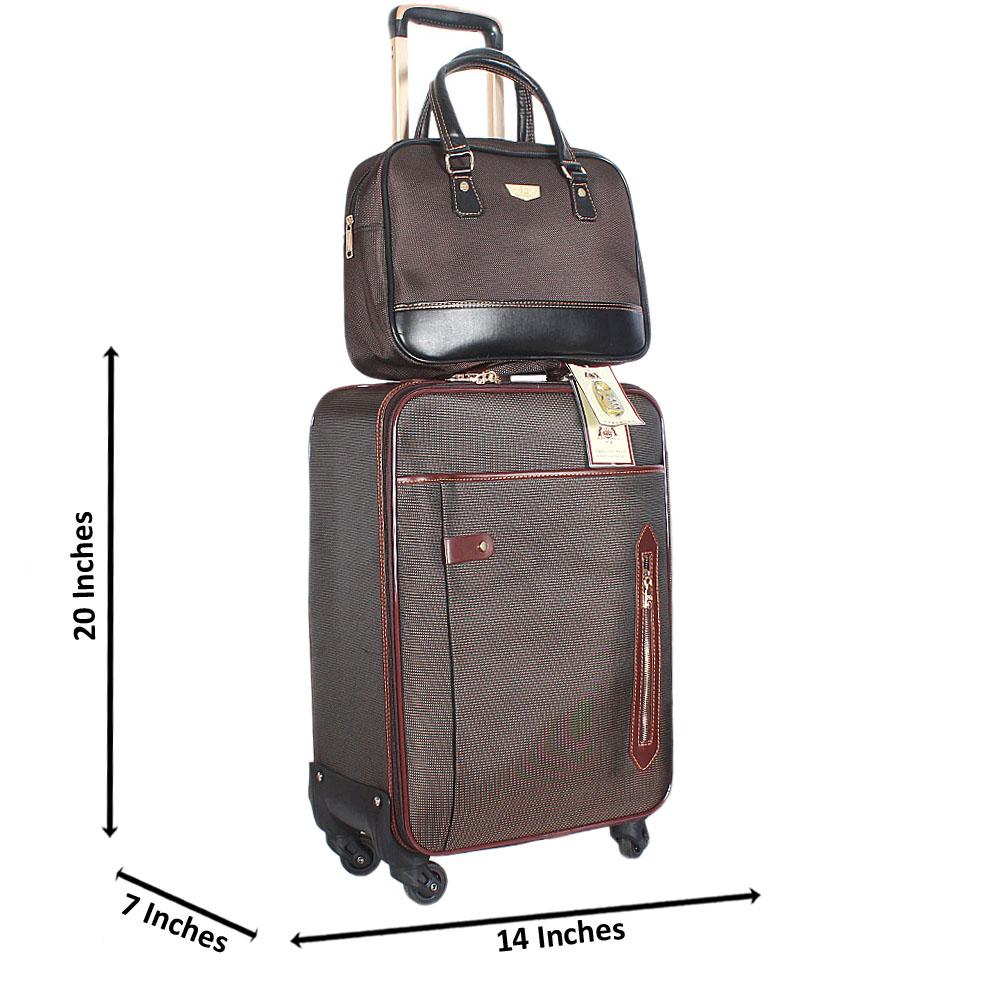 Brown Mix Cordura 20 Inch Fabric 2 in 1 Carry On Luggage Wt Lock
