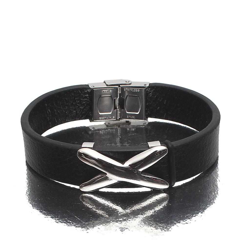 The X Silver Leather Bracelet