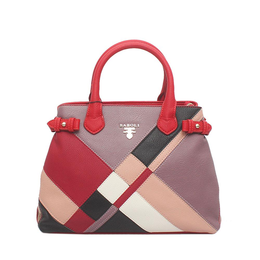 Baboli Red Lilac Wine Leather Patchwork Bag