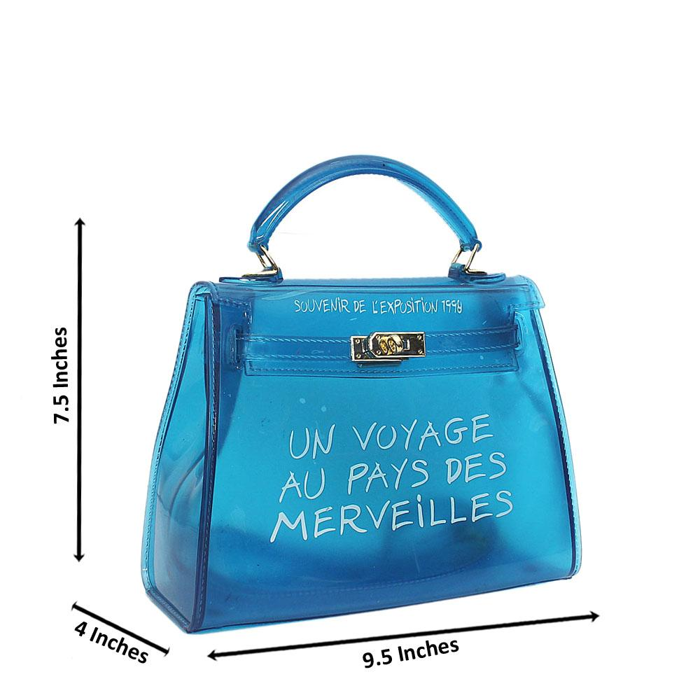 Blue Prima Mini Rubber Handbag