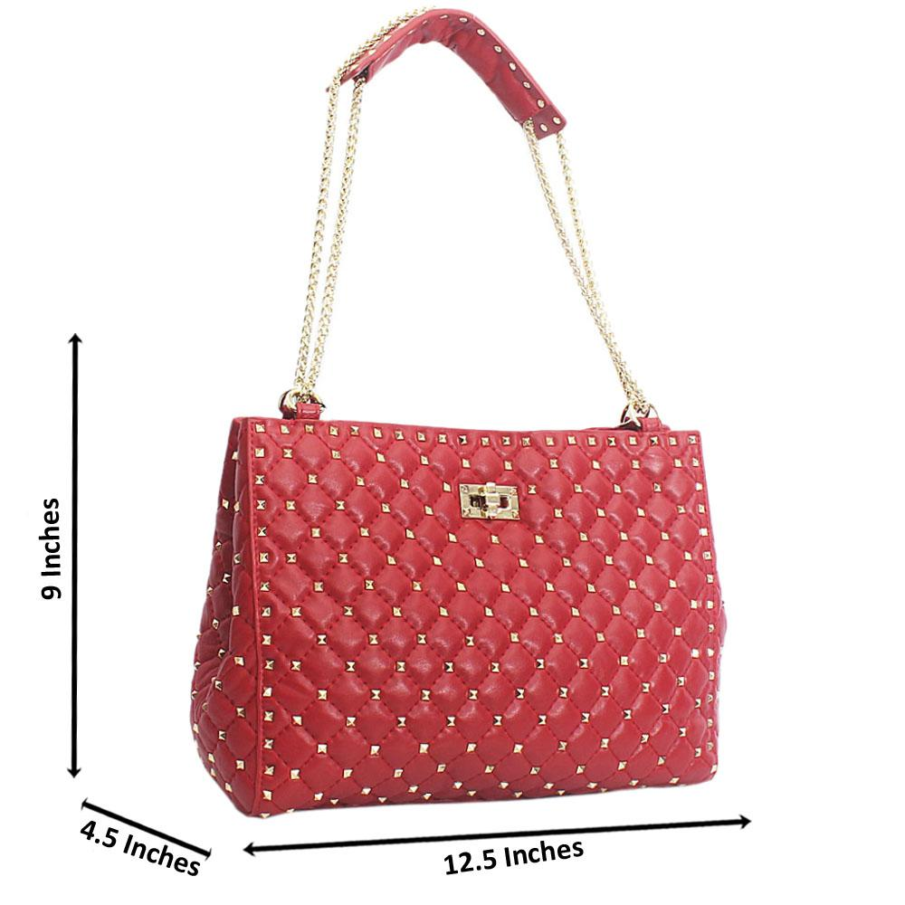 Red Universe Candy Stud  Chain Handle Cow Leather Handebag