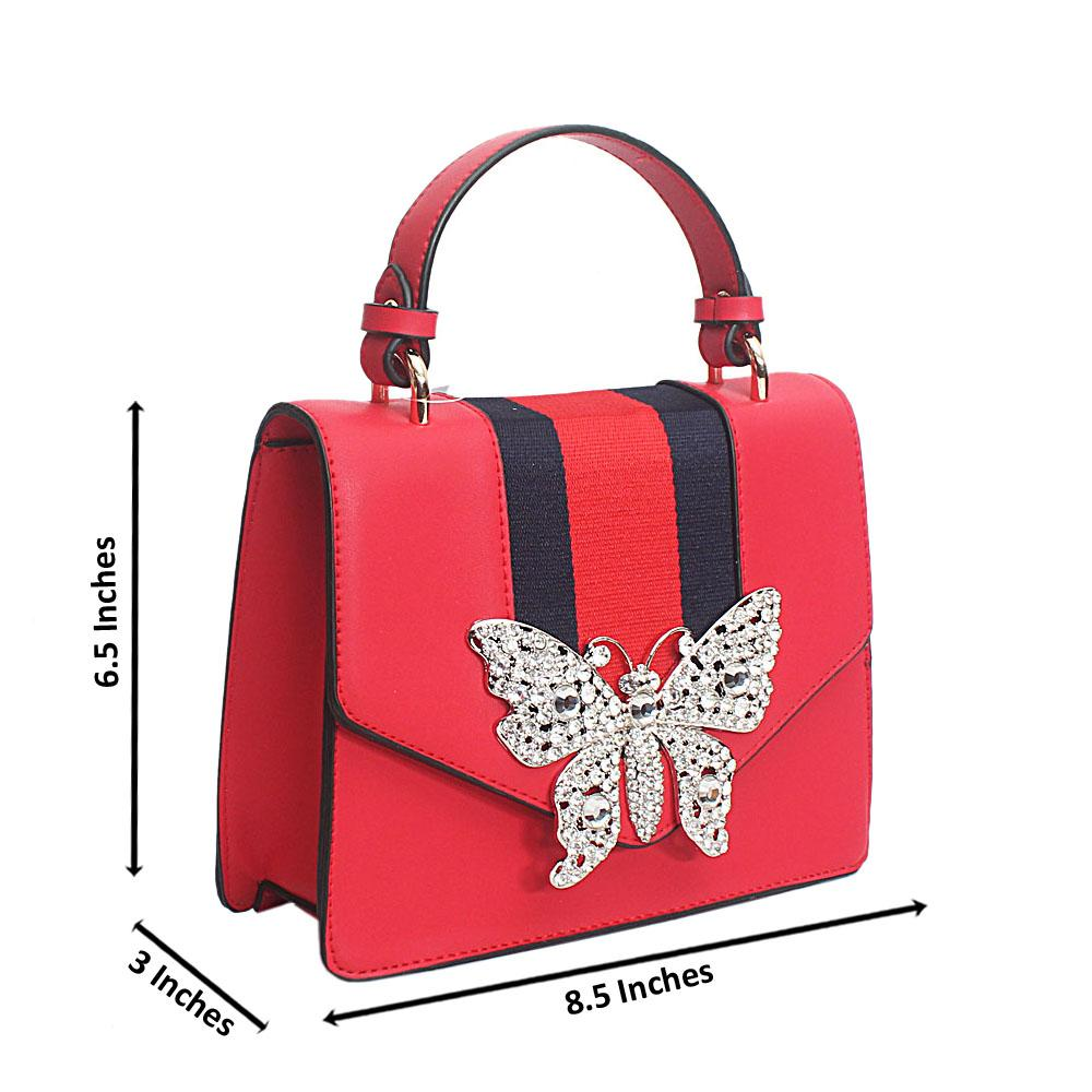 Red Butterfly Studded Leather Mini Handle Bag