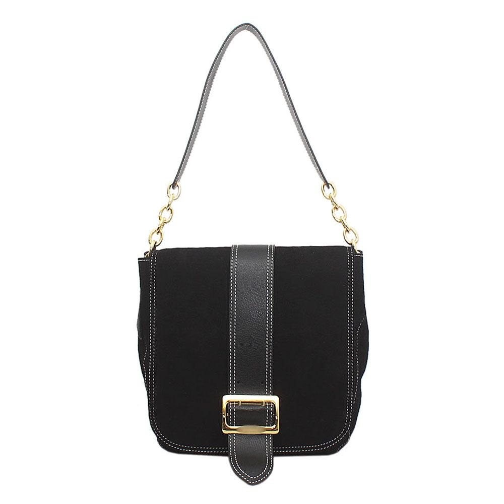 Black Saffiano Leather Shoulder Bag