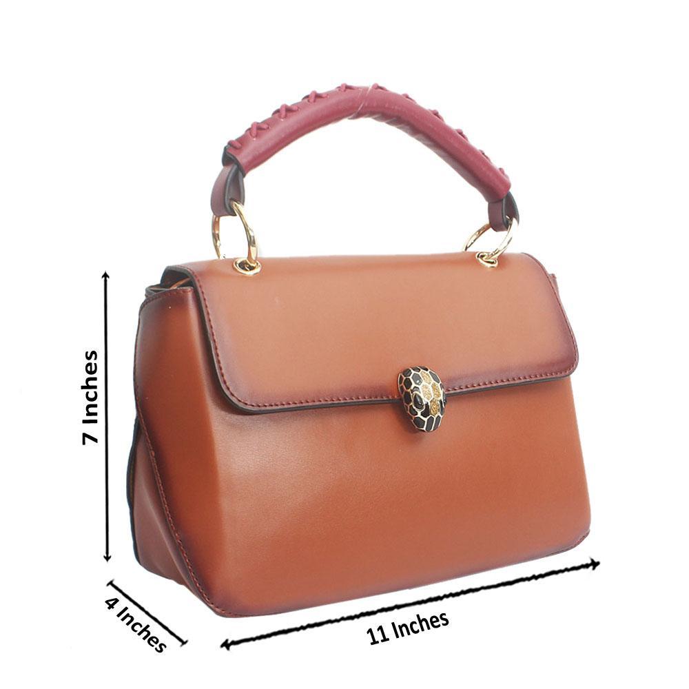 Brown Serpenti Saffiano Leather HandBag