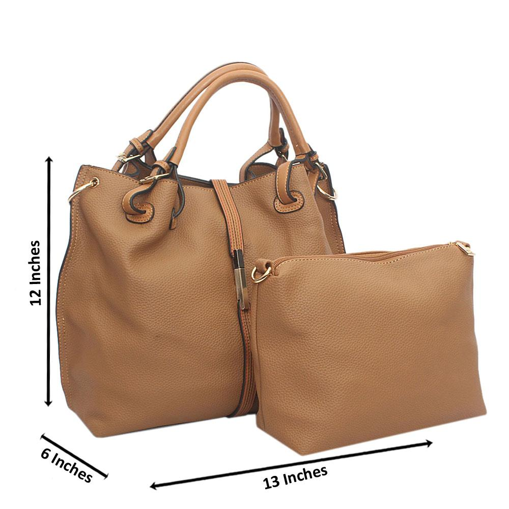 Brown Leather Handbag Wt Small Cut