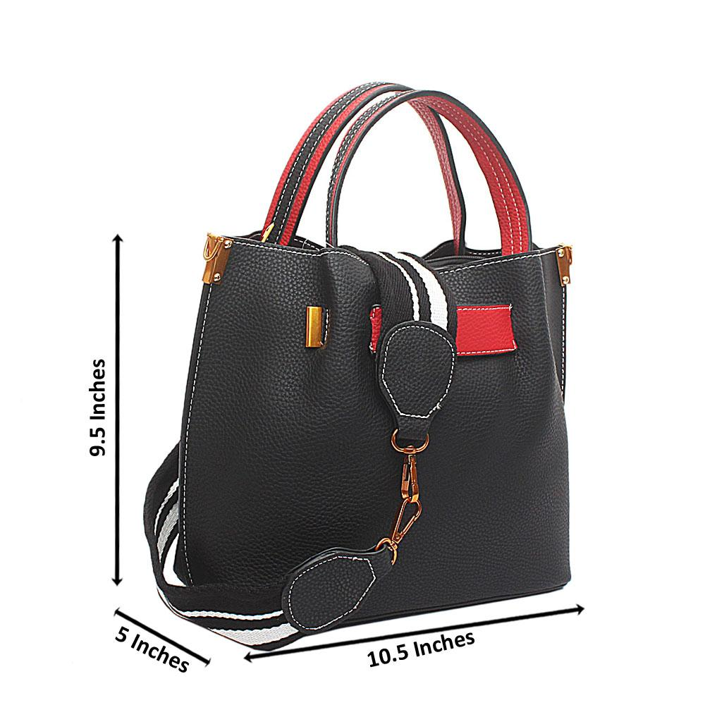 Black Red Leather Small Handbag