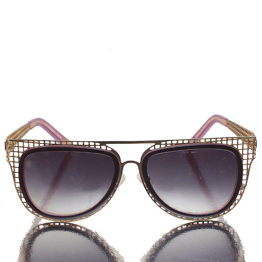 Gold Purple Oblong Dark Lens Sunglasses