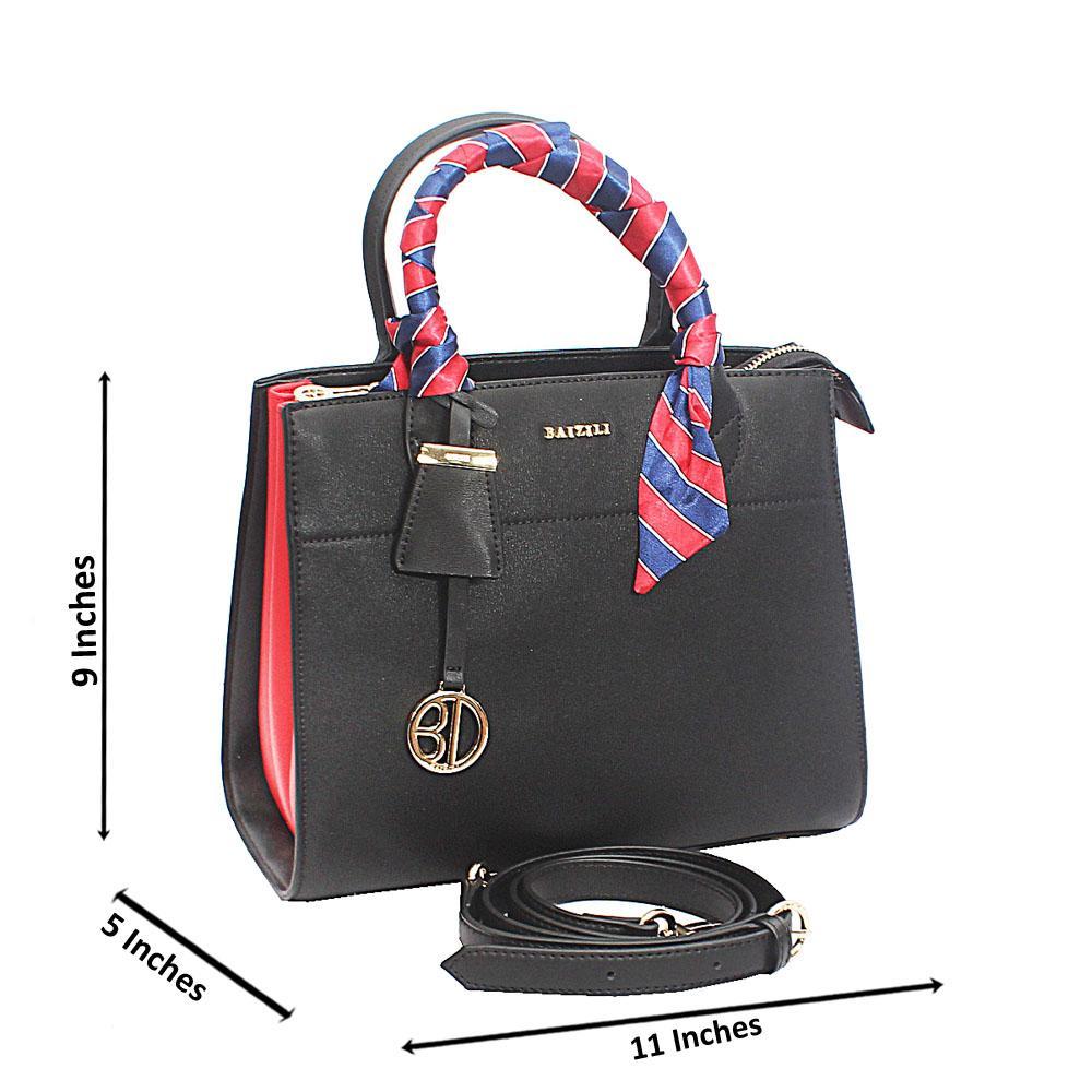 Baizili Black Stylish Handle Italian Leather Handbag