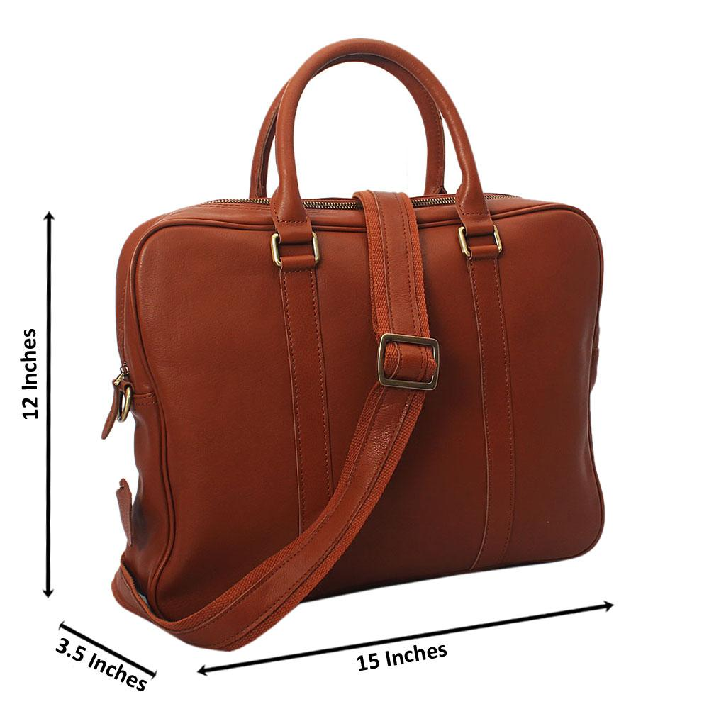 Brown Vinny Classic Smooth Grain Leather Briefcase