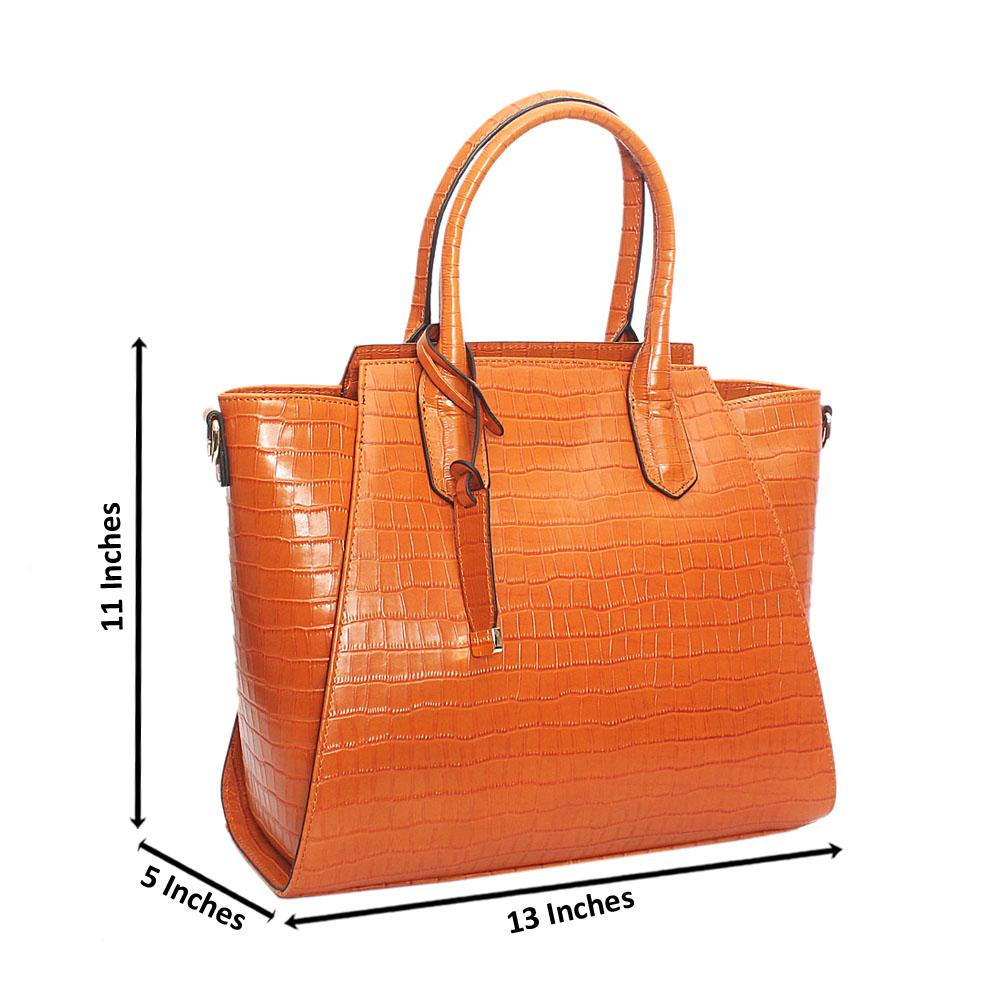 Ariana Orange Croc Montana Leather Handbag