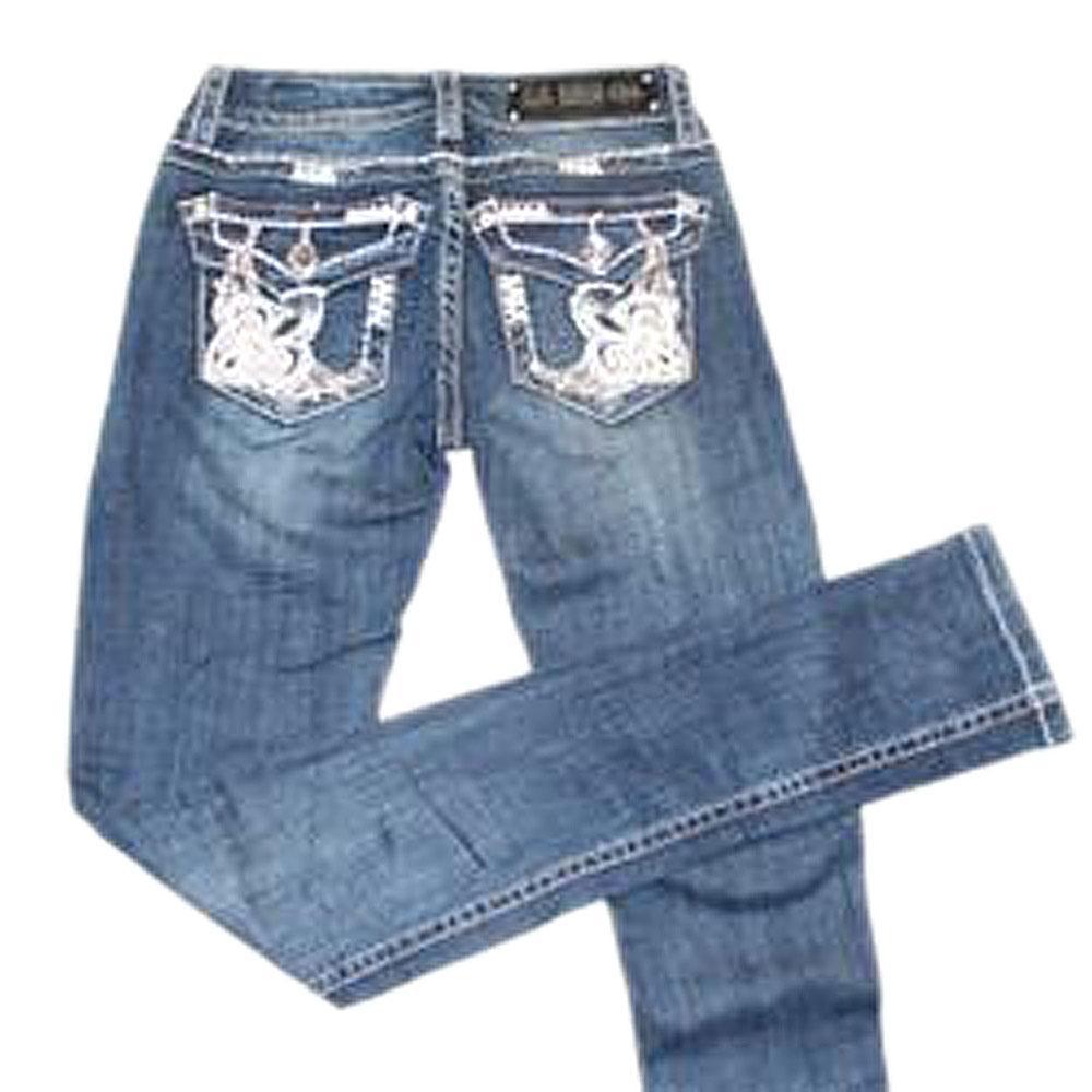L.A Idol Blue Ladies Studded Skinny Jeans