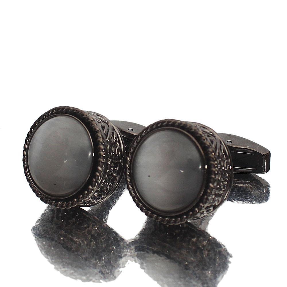 Montego Etched Pearl Black Stainless Steel Cufflinks