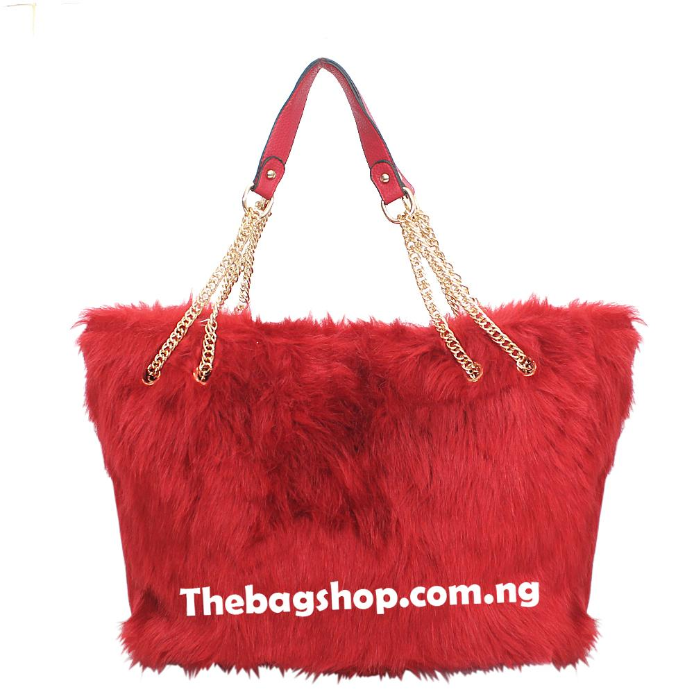 London Style Red Leather Furry Bag