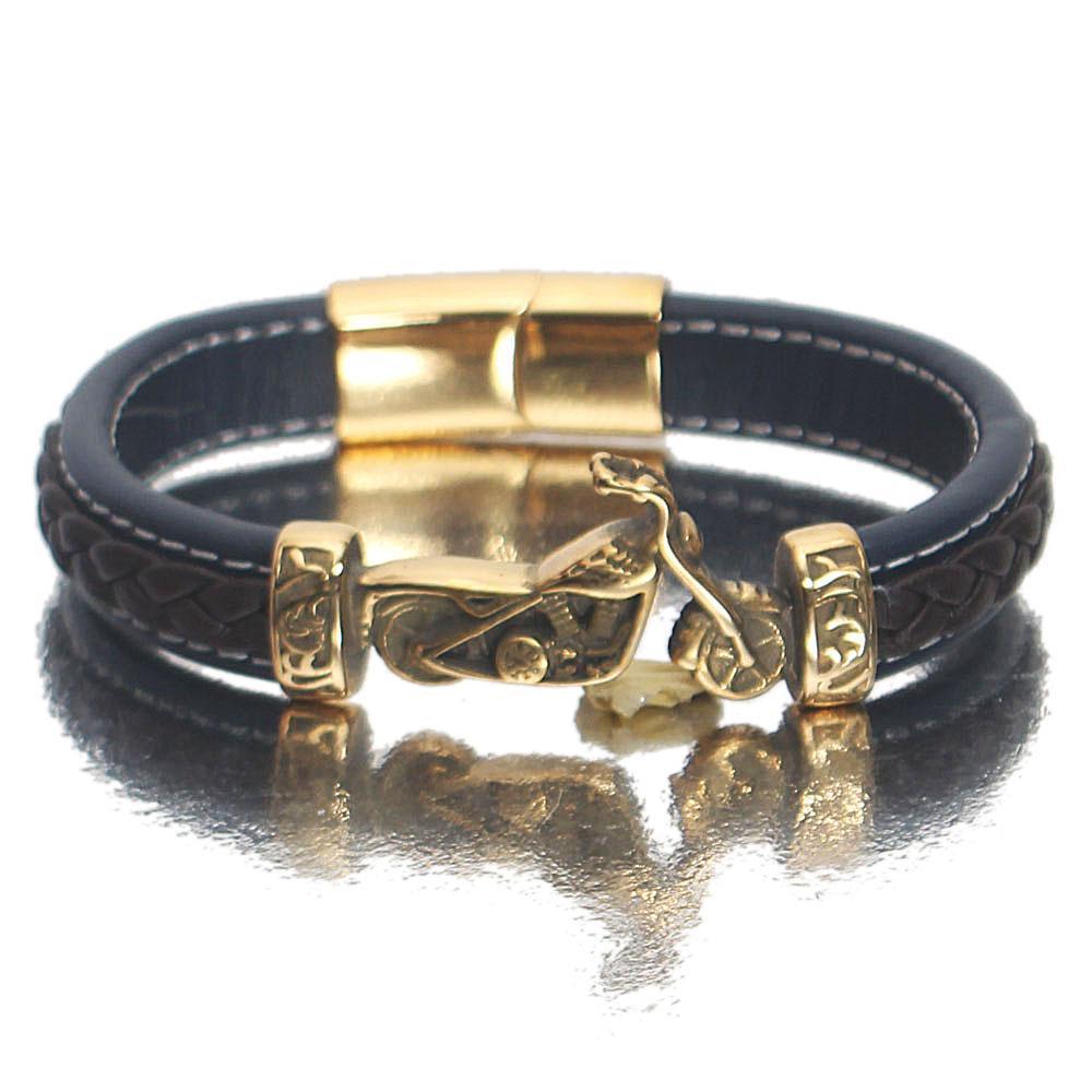 Gold Biker Navy Coffee Leather Bracelet