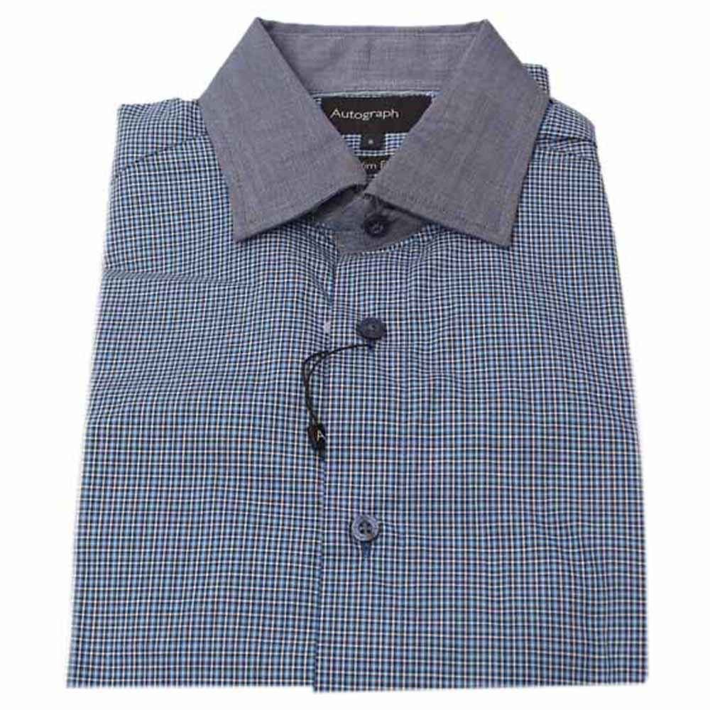 Autograph Blue White Check Long Sleeve Men Shirt-Sz 15