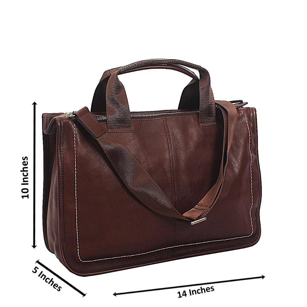 Brown Triple Partition Top Grain Leather Briefcase