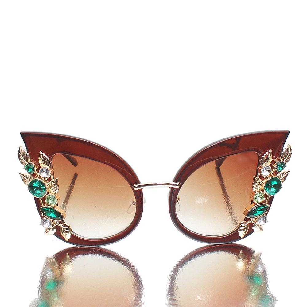 Brown Classic Cat Eye Design Ladies Sunglasses