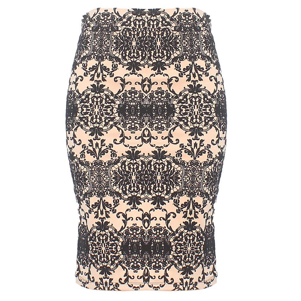Beige Black Cotton Stretch Skirt