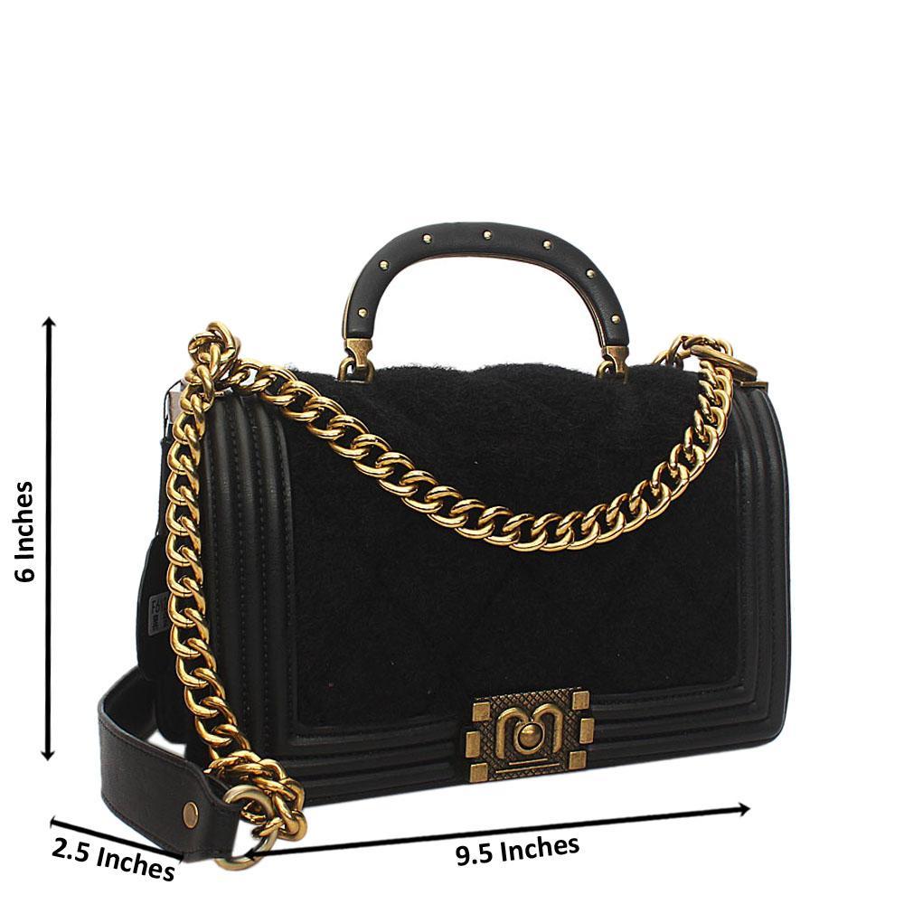 Black Furry Leather Small Handle Crossbody Handbag