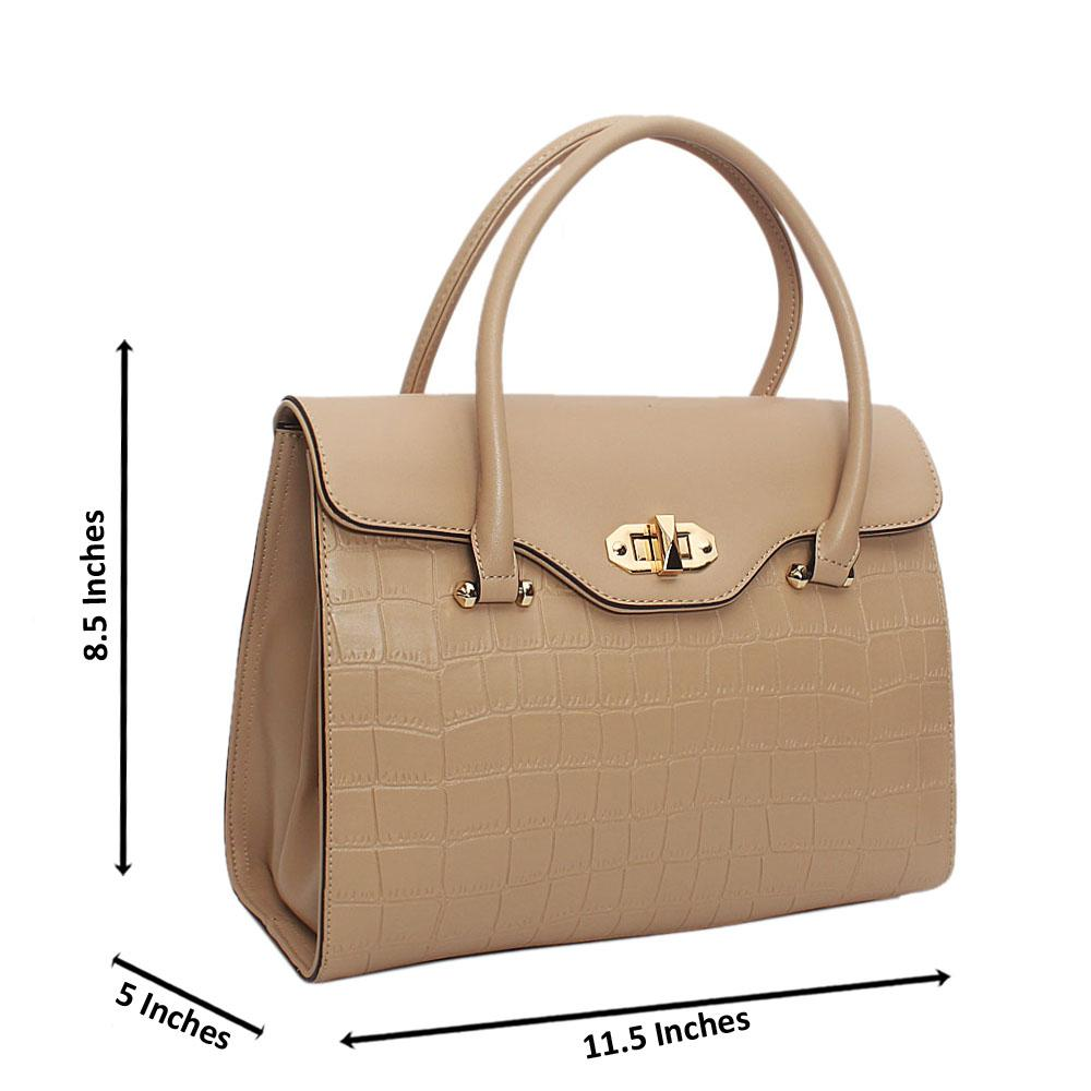Susen Beige Lotti Smooth Leather Tote Handbag