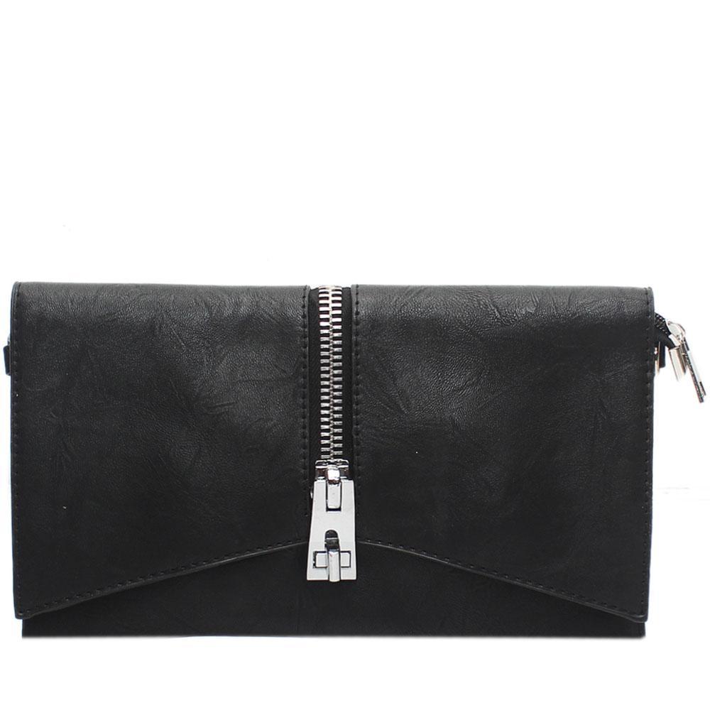 Black Tonia Zip Leather Flat Purse