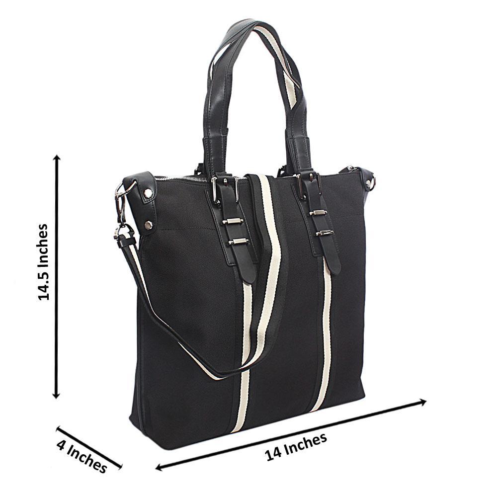 Saint Halberd Black White Stripe Fabric Man Bag