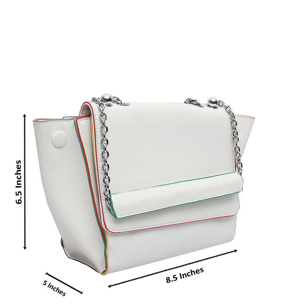 London  Style White Leather Shoulder Bag