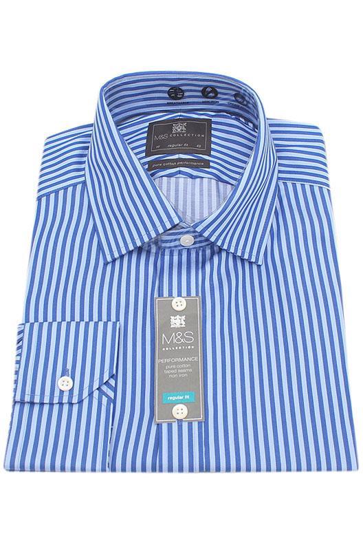 M&S Collection Blue Stripe Regular Fit Men Shirt