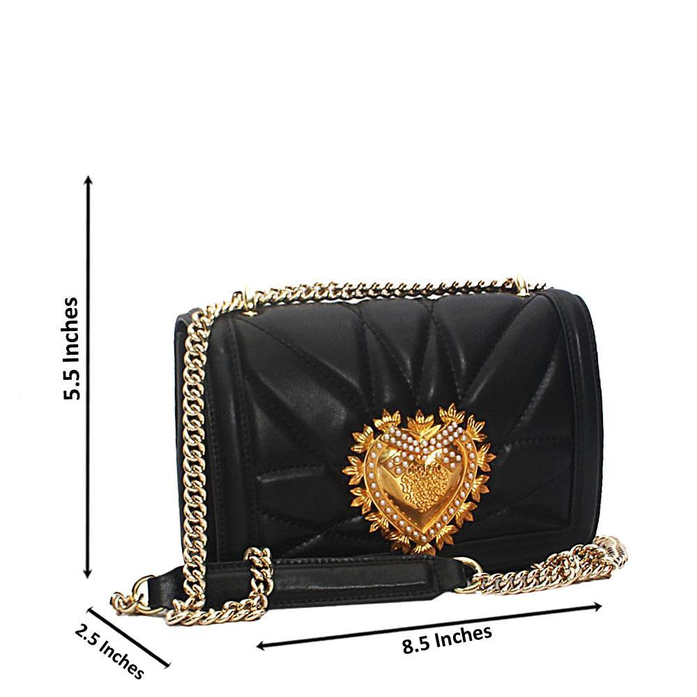 Black Alessia Saffiano Leather Crossbody Handbag