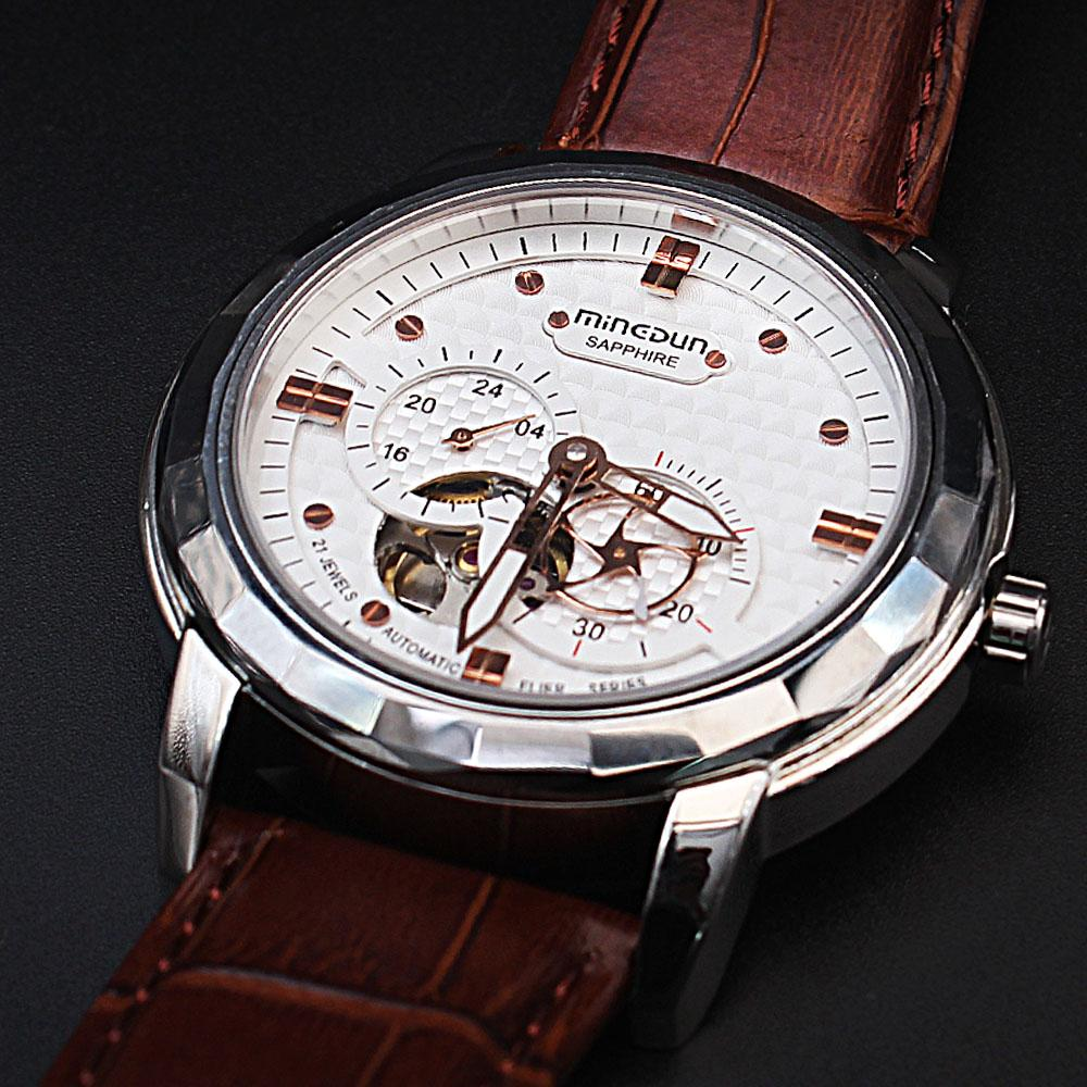 Shanghai Marcello Sapphire Class Brown Leather Automatic Watch