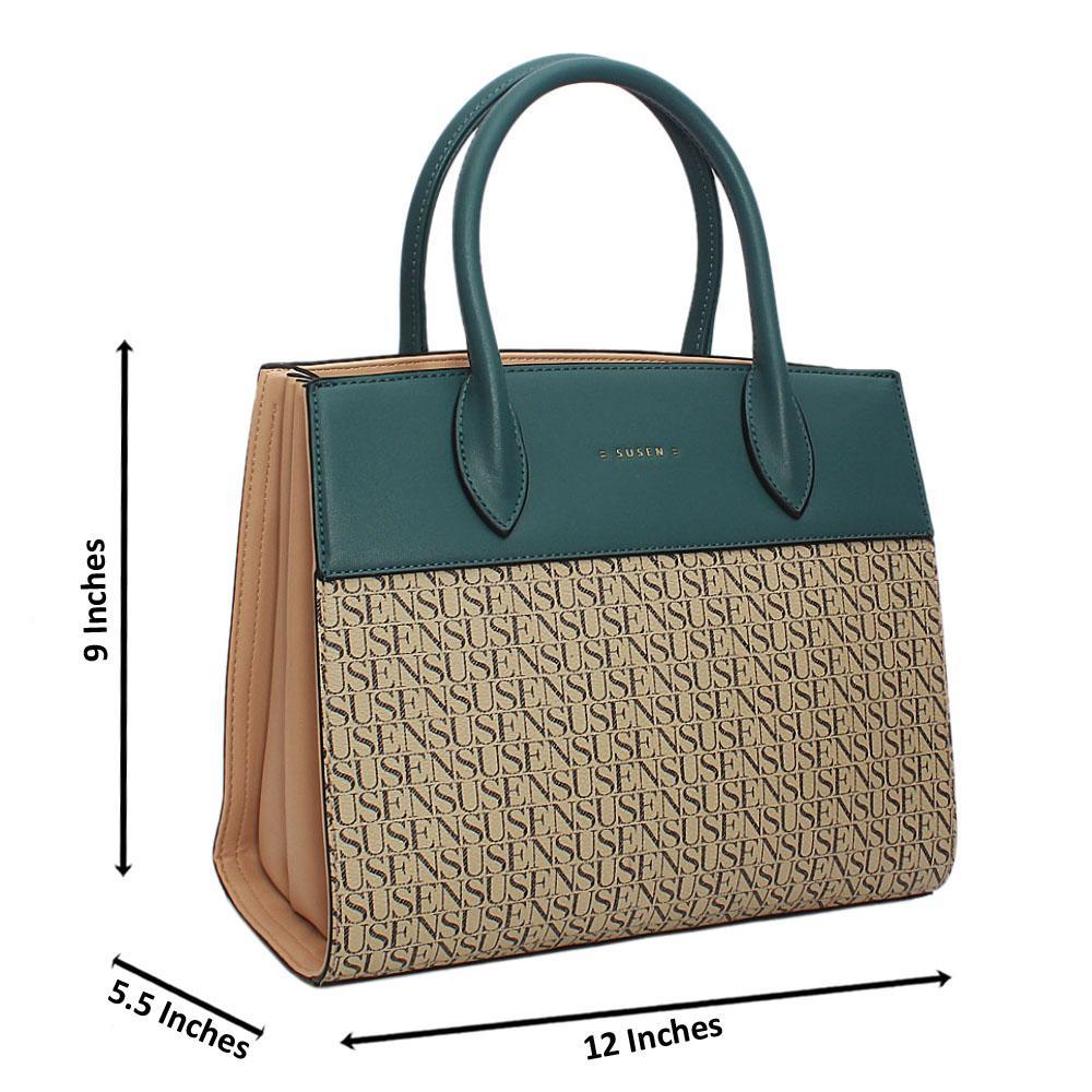 Susen Peach Blue Belinda Leather Tote Handbag