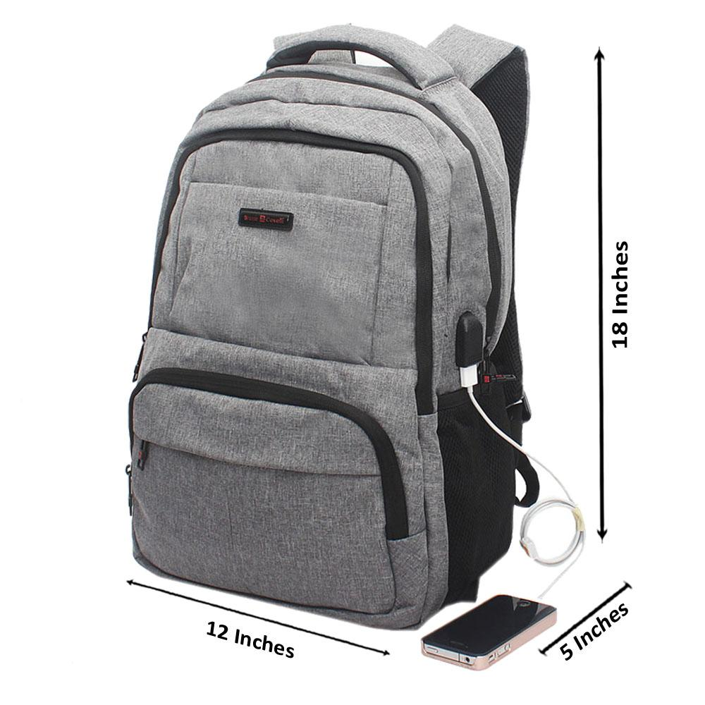 Light Grey Multi Zip Bruno Cavali Backpack wt USB Connector