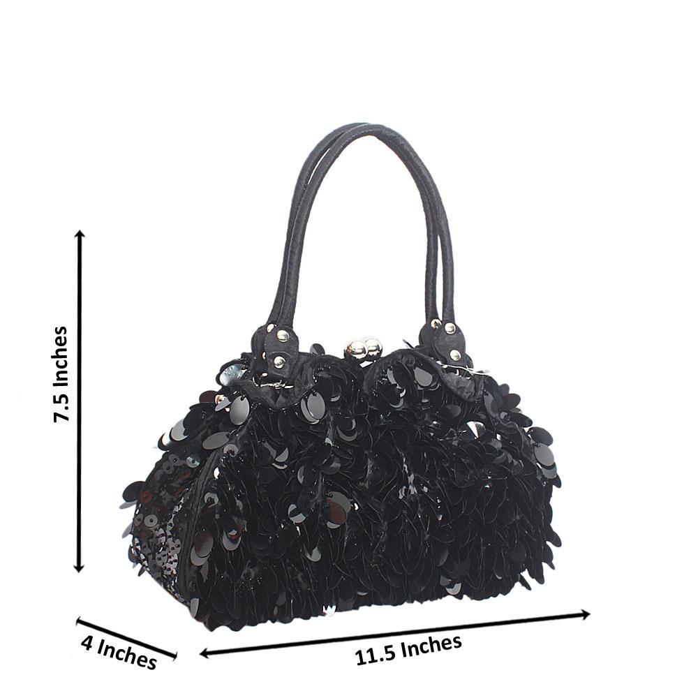 Black Babette Sequins Fabric Clutch Style Bag