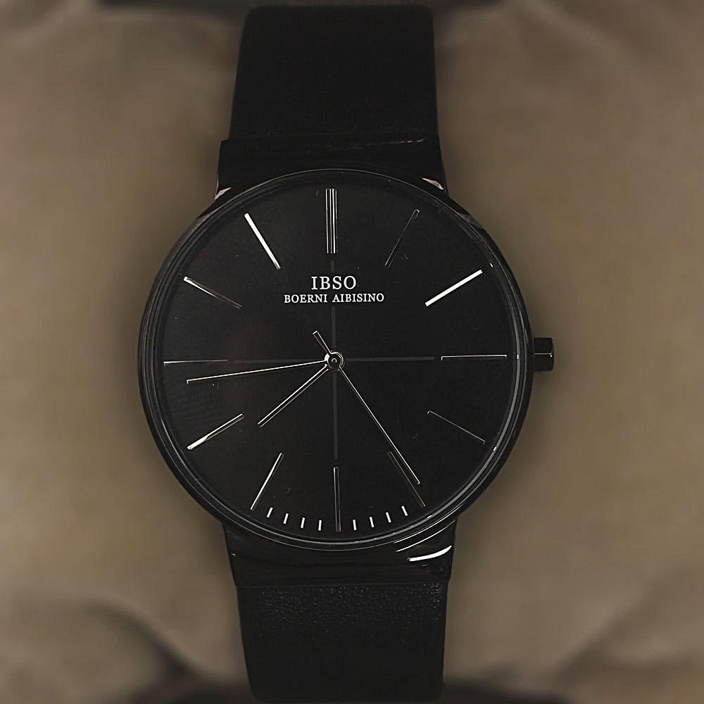 Oxford Black Leather Flat Watch