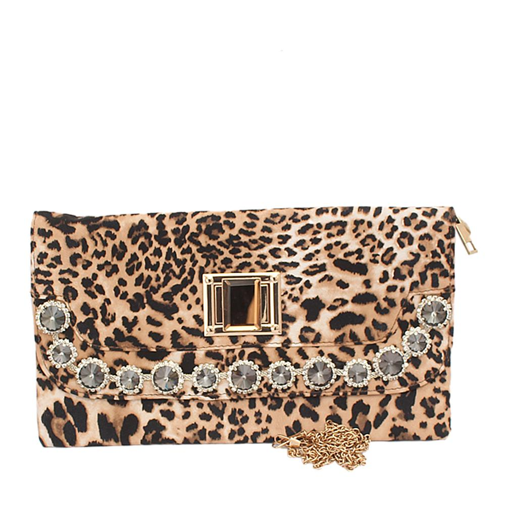 Fashion Animal Skin Studded Leather Ladies Clutch Bag