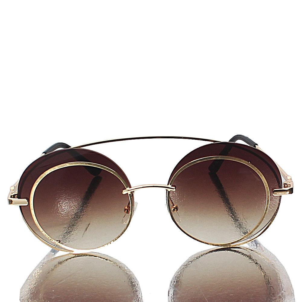 Gold Round Brown Lens Sunglasses