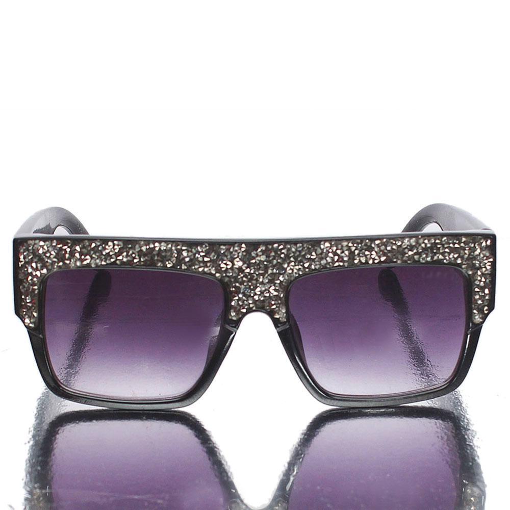 Black Studded Retro Square Sunglasses