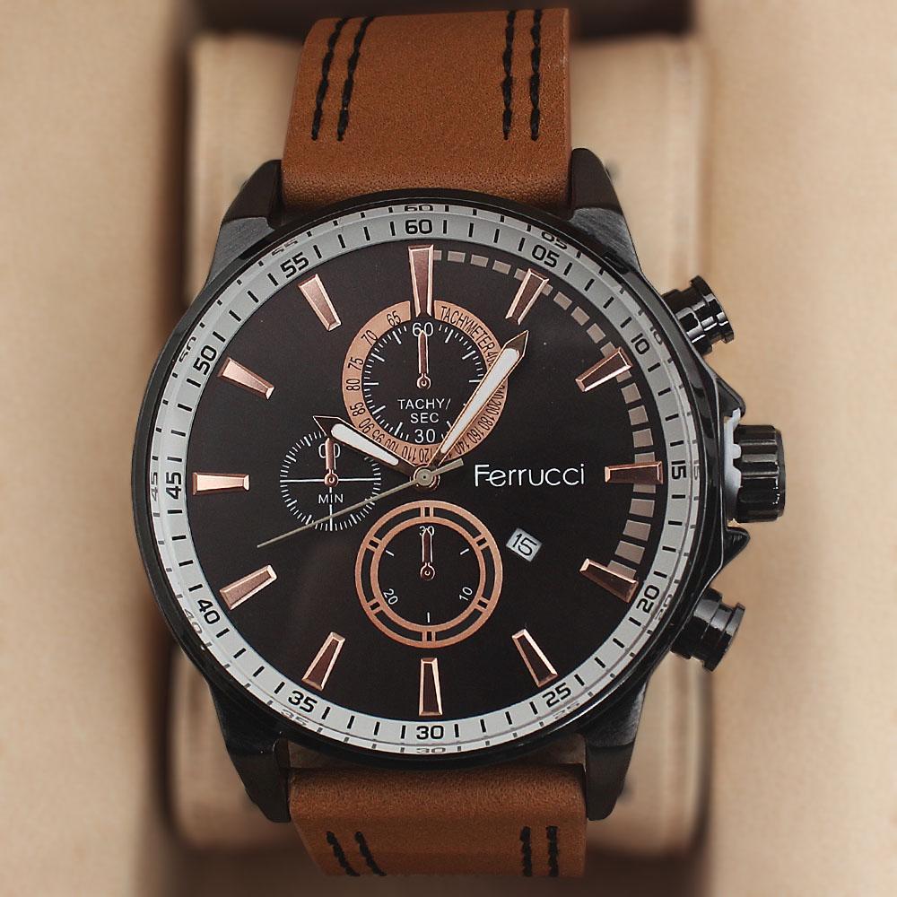 Ferrucci Tachy Camel Brown Leather Watch