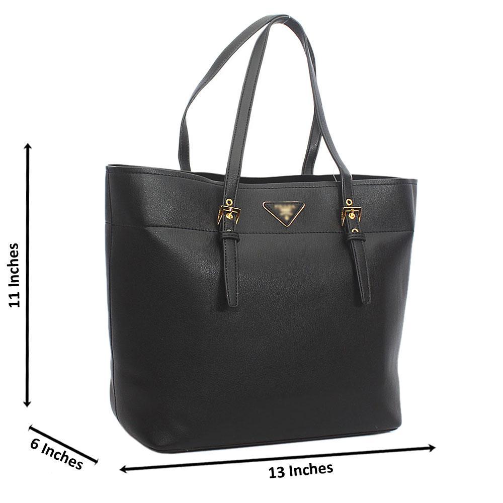 Black Tuscany Leather Shoulder Handbag
