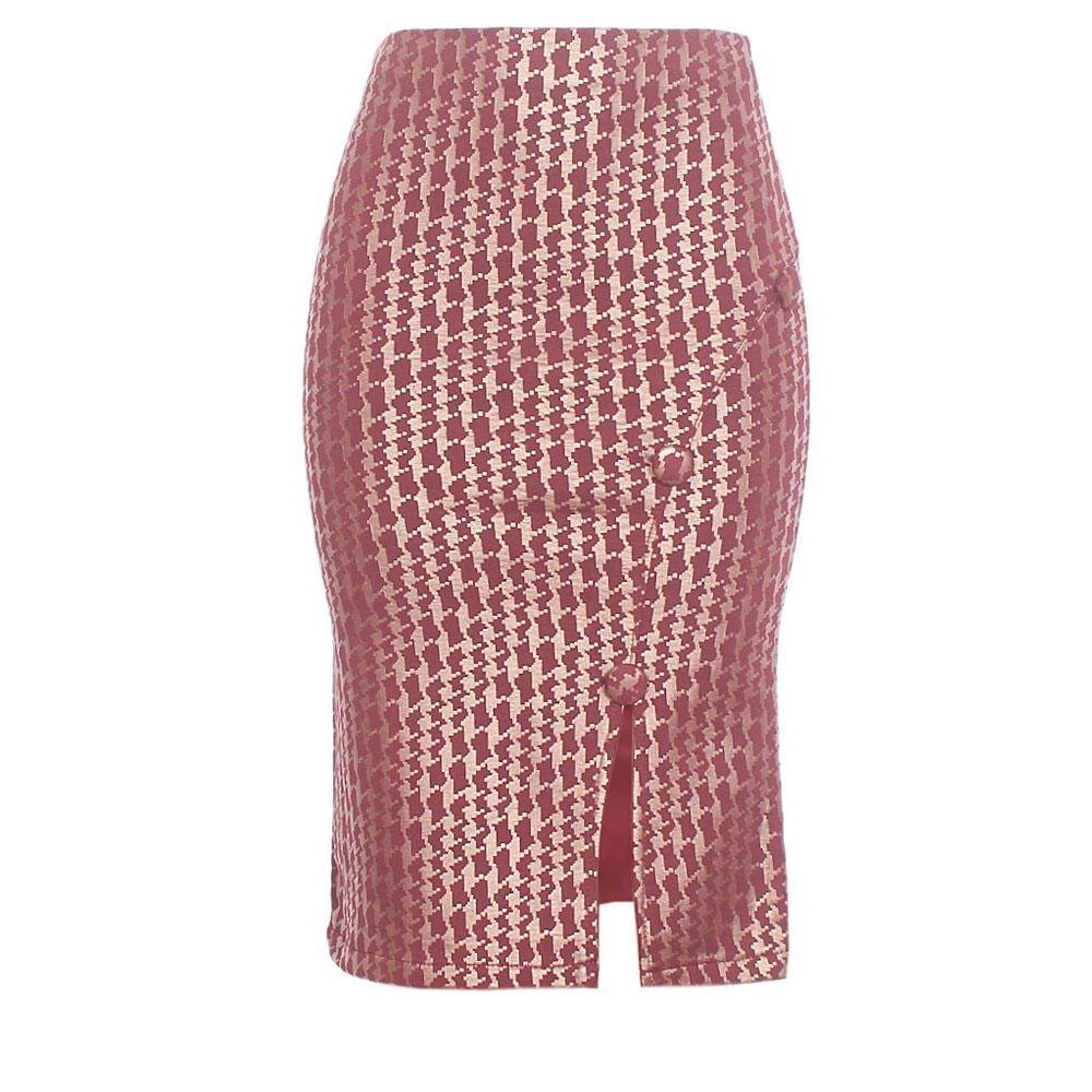 Wine Brown Cotton Stretch Skirt