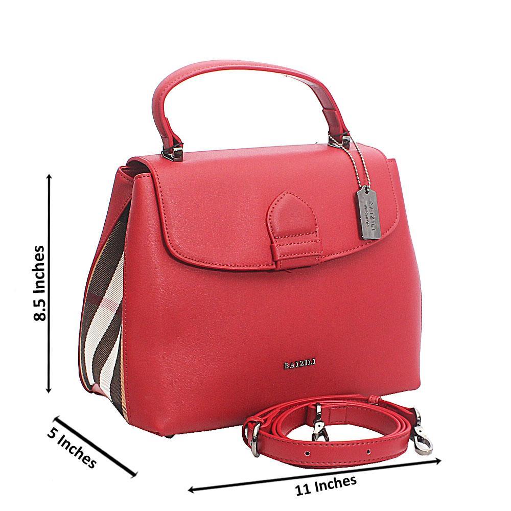 Baizili Wine Italian Leather Top Handle Handbag