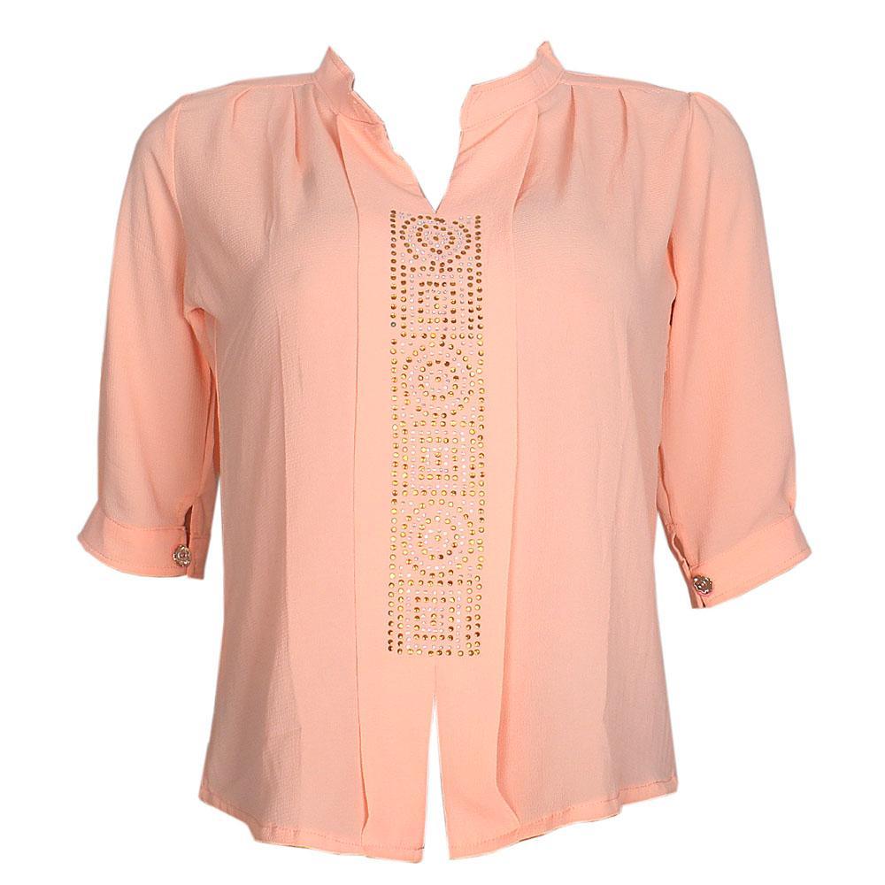 Peach Chiffon L/Sleeve Ladies Top