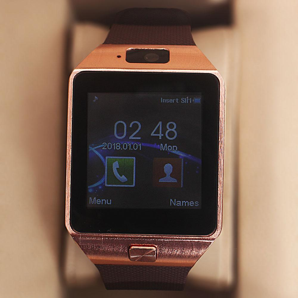 Rose Gold Brown Rubber Strap Android Smart Phone Watch